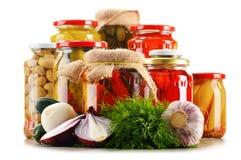 Composição com os frascos de vegetais conservados Alimento psto de conserva Imagem de Stock
