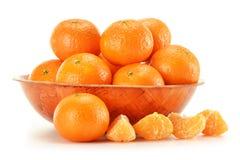 Composição com os tangerines isolados no branco Fotos de Stock Royalty Free