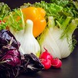 Composição com os vegetais orgânicos crus sortidos Imagens de Stock