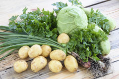 Composição com os vegetais orgânicos crus sortidos Fotos de Stock Royalty Free