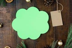 Composição com pensamentos do ícone, preço dos feriados do Natal, Ch Fotografia de Stock