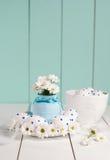 A composição consiste em ovos da páscoa e em flores da mola Imagens de Stock