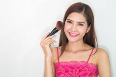 composição cosmético Base para a composição perfeita de Make-up Aplicando a composição Imagem de Stock Royalty Free