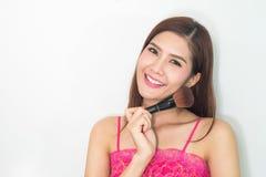 composição cosmético Base para a composição perfeita de Make-up Aplicando a composição Fotografia de Stock