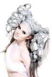 Composição creativa e cabelo em uma menina da forma imagem de stock