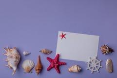 Composição criativa feita de lembranças marinhas Imagens de Stock