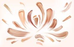 Composição da beleza dos cursos da escova da mancha da fundação da pele ilustração royalty free
