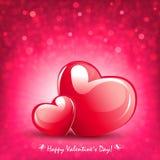 Composição da cor cor-de-rosa com dois corações elegantes e uma multidão de brilho, ilustração royalty free