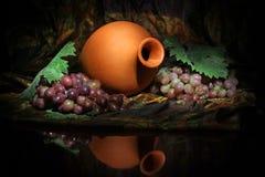 Composição da embarcação da água do Uzbeque e de uvas para vinho tradicionais Fotografia de Stock