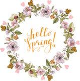 Composição da mola com círculo e elementos românticos florais ilustração stock