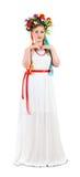 Composição da mulher com as flores no fundo branco, mola Foto de Stock Royalty Free