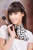 Composição da mulher e do cosmético fotos de stock