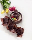 A composição da Páscoa da galinha feita do chocolate, sentando-se em um ninho, pintou ovos e queques do chocolate em um branco imagem de stock