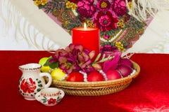 Composição da Páscoa no estilo do russo - cristandade - ovo pintado Imagens de Stock