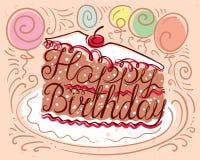 Composição da rotulação do feliz aniversario na silhueta do pedaço de bolo ilustração royalty free
