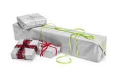 Composição das caixas de presente do Natal isoladas no branco Fotografia de Stock Royalty Free