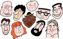 Composição das caras diferentes dos desenhos animados Fotos de Stock