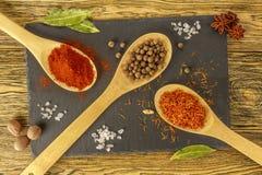 Composição das especiarias Temperos na mesa de cozinha Ardósia BO Imagem de Stock