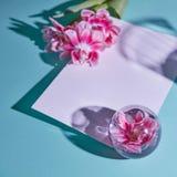 Composição das flores e do vaso com a tulipa no fundo azul, cartão para serir de mãe ao dia do ` s Foto de Stock