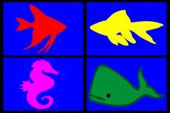Composição de animais marinhos Foto de Stock Royalty Free