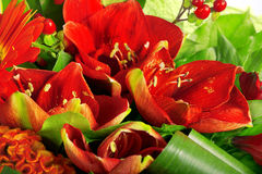 A composição de aumentou, gerbera, orquídea e antúrio Imagens de Stock