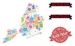 Composição de Black Friday do mapa de mosaico de New York City e do selo riscado ilustração do vetor