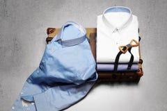 Composição de camisas à moda do ` s dos homens Fotografia de Stock Royalty Free