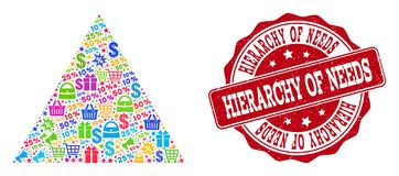 Composição de compra da pirâmide do mosaico e selo do Grunge para vendas ilustração royalty free