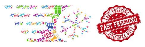 Composição de congelação rápida do mosaico e selo da aflição para vendas ilustração stock