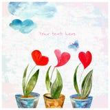 A composição de corações da aquarela Fotografia de Stock
