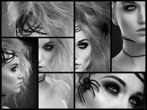 Composição de Dia das Bruxas na jovem mulher bonita fotografia de stock