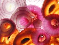 Composição de fatias da fruta e verdura Fotos de Stock