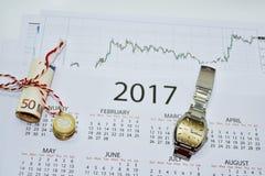 Composição de fazer planos do ano Fotos de Stock Royalty Free