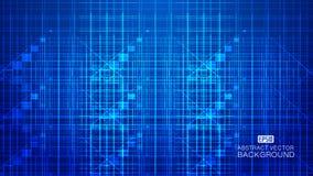 A composição de incandescência azul da tecnologia que consiste em raios, linhas abstrai o fundo do vetor ilustração royalty free