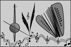 Composição de instrumentos musicais Ilustração, fundo ilustração royalty free