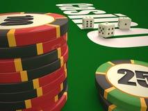 Composição de microplaquetas dos dados e do casino ilustração stock