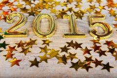 Composição de números dourados 2015 anos e asteri do ouro Imagem de Stock Royalty Free