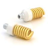 Composição de poupança de energia de dois bulbos Fotos de Stock Royalty Free