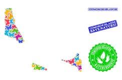 Composição de salvaguarda da natureza do mapa de ilhas de Comores com borboletas e selos riscados ilustração stock