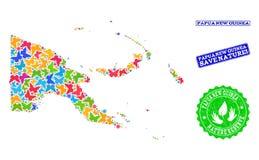Composição de salvaguarda da natureza do mapa de Papuásia-Nova Guiné com borboletas e selos de borracha ilustração royalty free