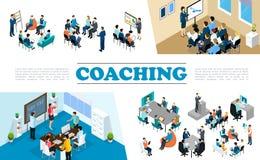 Composição de treinamento do negócio isométrico do pessoal ilustração stock