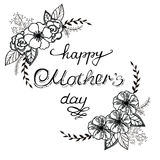 A composição de um dia de mãe feliz com anêmonas, rosas e folhas Grinalda do vintage com caligrafia da mão Fotografia de Stock