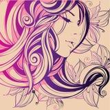 A composição decorativa com menina floresce em seu cabelo ilustração stock