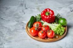 Composição deliciosa de legumes frescos sortidos e de ervas no fundo textured branco, vista superior, foco seletivo Fotografia de Stock Royalty Free
