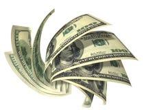 Composição dinâmica de diversas notas de banco dos dólares Imagem de Stock