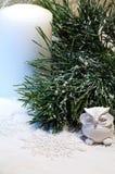 A composição do ano novo com coruja e o pinho coberto de neve ramificam Fotografia de Stock