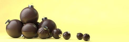 A composição do ano novo feliz com chocolate brinca a decoração Imagem de Stock