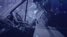 Composição do armazém do homem de entrega em uma camionete combinada com a animação da conexão filme