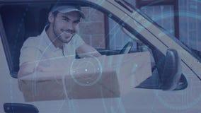 Composição do armazém do homem de entrega em uma camionete combinada com a animação da conexão video estoque
