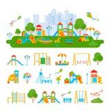 Composição do construtor do campo de jogos das crianças ilustração do vetor